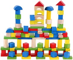 Дървен конструктор в кутия - 100 части - играчка