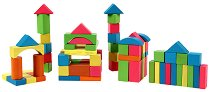Дървен конструктор в кутия - 75 части с пастелни цветове - играчка