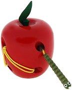 Ябълка и червейче - Дървена играчка за нанизване - играчка