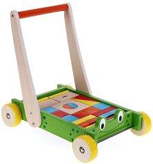 Дървена количка за бутане с конструктор - Жаба -
