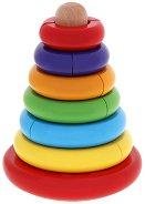 Пирамида - невеляшка - Дървена играчка с разноцветни елементи -