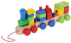 Влакче с два вагона - Дървен конструктор на колелца -