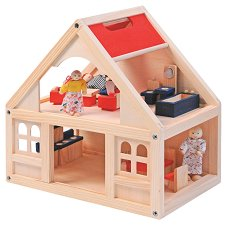 Дървена къща за кукли с аксесоари - играчка