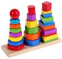 Трите кули - Дървена играчка за нанизване - играчка