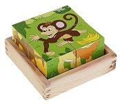 Дървени кубчета - Сафари - Образователна играчка - играчка
