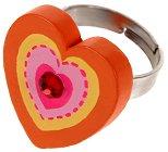 Детско пръстенче - Сърце - Бижу с дървено мънисто - детски аксесоар