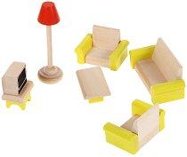 Дневна стая - Дървени мебели за кукленска къща - играчка