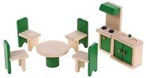 Кухня и трапезария - Дървени мебели за кукленска къща - играчка
