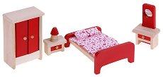 Спалня - Дървени мебели за кукленска къща - играчка