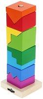 Сглоби кула от блокчета - Дървена играчка за нанизване -