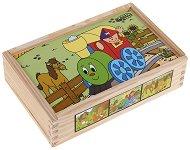 Веселото влакче - Дървени кубчета с животни -