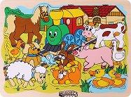 Веселото влакче във фермата - Детски дървен пъзел -