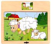 Животните в селския двор - Овца - Детски дървен пъзел - пъзел