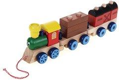 Влакче с два вагона - Дървена играчка за дърпане -