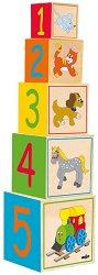 Дървени кубчета - Веселото влакче - Образователна играчка - играчка