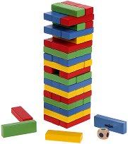 Дженга - Игра с разноцветни дървени елементи за подреждане -