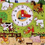 Дървен пъзел с часовник - Домашните животни - пъзел