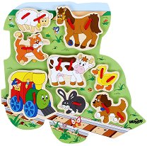 Веселото влакче и неговите приятели - Дървена играчка за нанизване - играчка