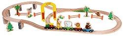 Веселото влакче в зоопарка - Комплект дървени играчки -
