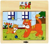 Животните в селския двор - Коте - пъзел