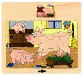 Животните в селския двор - Прасе - Детски дървен пъзел - пъзел