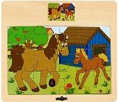 Животните в селския двор - Кон - Детски дървен пъзел - пъзел
