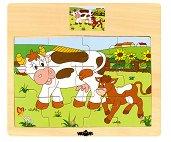 Животните в селския двор - Крава - Детски дървен пъзел - пъзел