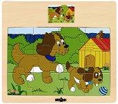 Животните в селския двор - Куче - Детски дървен пъзел - пъзел