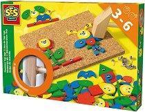 Коркова дъска с чукче и цветни части - кутия за храна