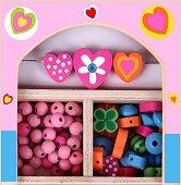 Създай сама бижута - Сърчица - Мъниста в дървена кутия - играчка