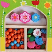 Създай сама бижута - Цветя - Мъниста в дървена кутия - творчески комплект