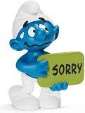 """Смърф с табелка """"Извинявай"""" - Фигура от серията """"Малки Смърфове"""" -"""
