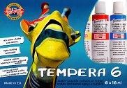Темперни бои на водна основа - Комплект от 6 цвята x 16 ml