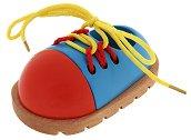 Дървена обувка с връзки - играчка