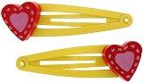 Фиби за коса с дървени мъниста - Сърце - Комплект 2 броя - играчка