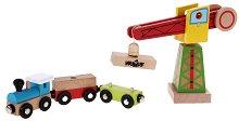 Дървено влакче с кран - играчка