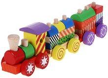 Дървен конструктор - Влакче - играчка