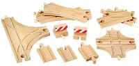 Релси за влак - Дървена играчка за разширение на релсов път - играчка