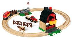 Детски влак с релси - Ферма - Дървена играчка с аксесоари -