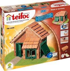 """Къща с керемиден покрив - 2 в 1 - Детски сглобяем модел от истински тухлички от серията """"Teifoc: Classic"""" -"""