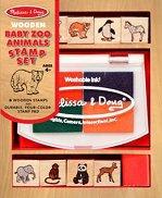 Животни бебета от зоопарка - Комплект дървени печати - играчка