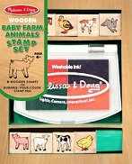 Животни бебета от фермата - Комплект дървени печати - играчка
