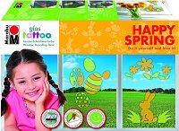 Бои за стъкло - Happy Spring - Комплект от 2 броя с шаблони и шпакла