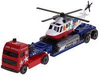 Авиотранспортер с вертолет - Метална количка - играчка
