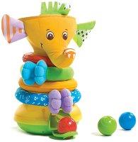 Слонче с рингове - Musical Stack & Ball - Играчка за нареждане със светлинни и звукови ефекти - топка