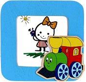 Дървена рамка за снимка - Веселото влакче - детски аксесоар