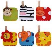 Дървени мини щипки с животни - Джунгла - Комплект 6 броя - играчка